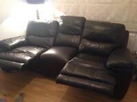 3 seater black leather recliner