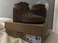 Genuine UGG chestnut wynona fringe boots U.K. 6.5 like NEW