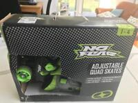 No Fear adjustable quad skates. From size 1 to 4