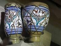 Vintage clay bongo drums.geniune skin..handpainted