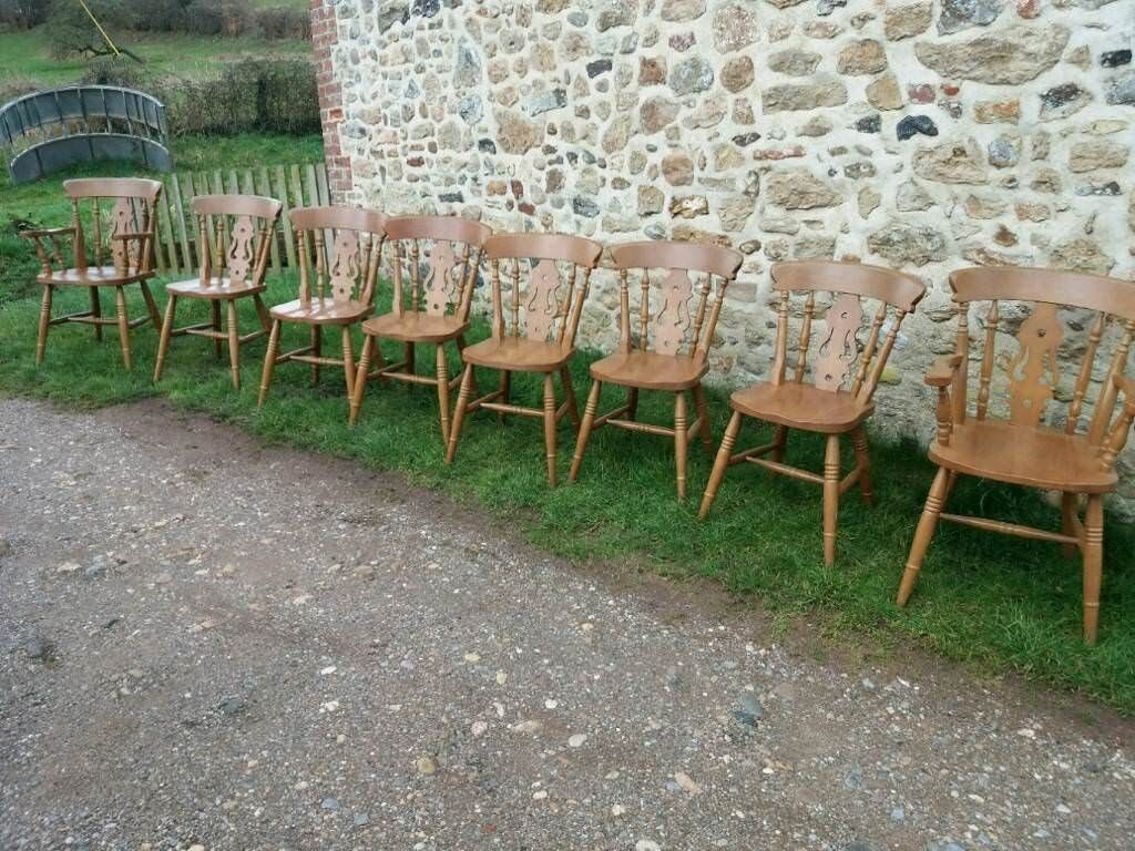 8 lovely pine chairs including two carvers