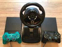 SONY PLAYSTATION 2 CONSOLES PS2 SPARES OR REPAIRS 4GAMERS STEERING WHEEL