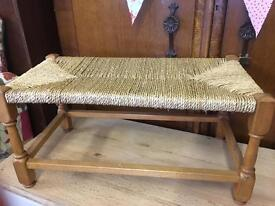 Vintage woven top long stool seat footstool vgc