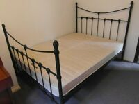 Antique style metal double bed including mattress