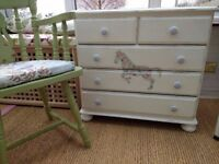 Pretty hand painted vintage style chest of drawers featuring floral horse design decoupage.