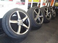 "GENUINE AUDI 18"" S-LINE REFURBISHED ALLOY WHEELS & NEW TYRES"