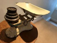 Vintage enamel kitchen scales with weights