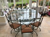 Hand Made Glass Dining Table and 8 Chairs