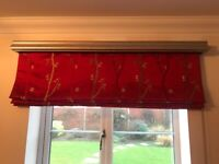 Roman Blind with gold pelmet- red/gold material