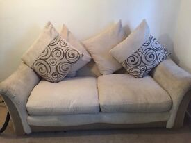 cream and badge 2 seater sofa X2