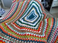Shabby chic very large crochet blanket