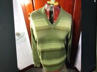 Gabicci mans V neck mid green jumper with lighter green horizontal stripes med. brand new