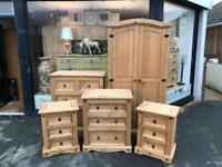 Complete Set of Mexican Pine Bedroom Furniture