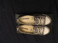 Converse Ctas Ballet Lace Silver Canvas UK size 4 EUR 37 - shop price £45.00 - on sale for £5.00