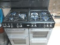 Cooker, Belling country range 100df silver. 7 burners,3 ovens WITH extractor hood