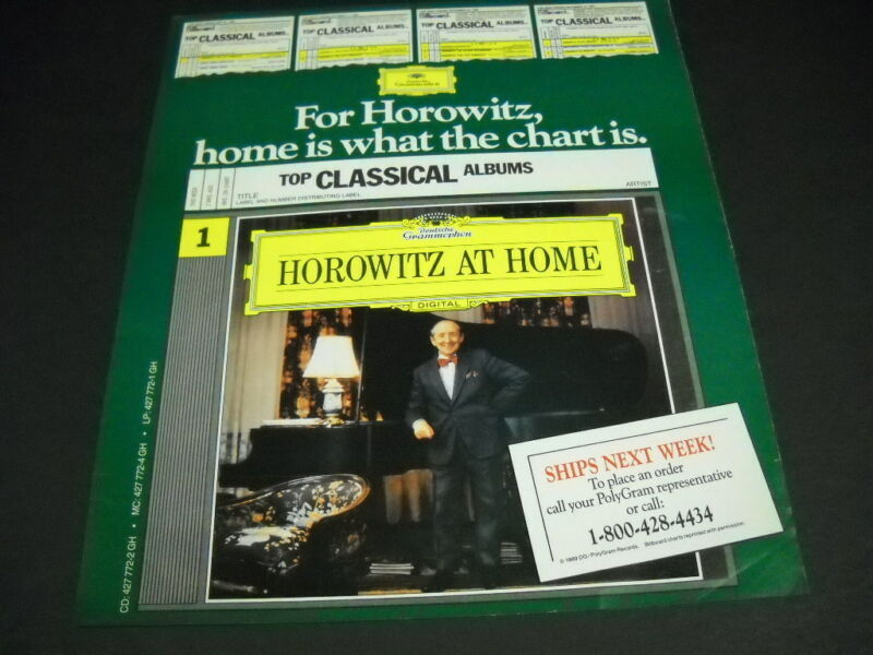 VLADIMIR HOROWITZ is at Home... 1989 PROMO POSTER AD mint condition