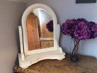 Large vintage dressing table mirror, vanity mirror painted vintage Ivory