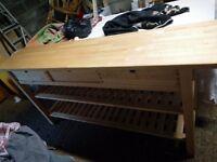 Farmhouse cottage kitchen workstation bench beech