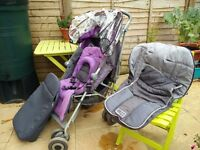 Maclaren Techno XLR Stroller with 2 Cosy Toes, New Raincover and Headhugger. Suitable From Birth.