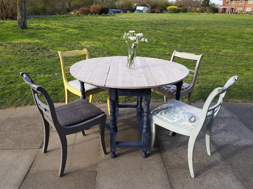 eclectic outdoor furniture. Rustic Vintage Boho Eclectic Distressed Dining Table + 4 Chairs. Drop Leaf/folding. Outdoor Furniture R