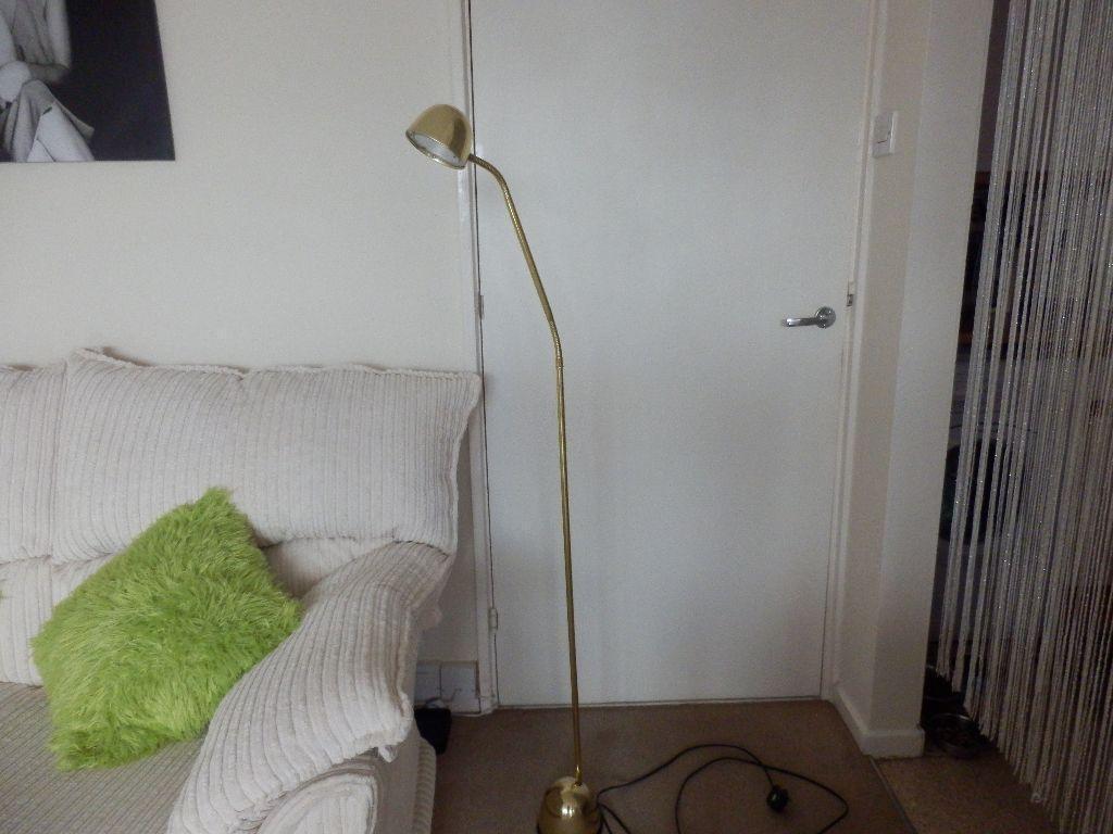 Reading light floor lamp gold coloured brand new flexible for Industrial floor lamp gum tree
