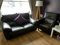 X2 two seater dark brown sofas and armchair