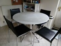 Lovely marble table and 4 leather chairs