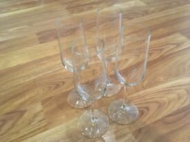 Set of 4 Champagne Flutes and 2 Brandy Glasses, all NEW