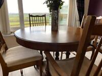 Stag 4-6 seater extendable table and chairs