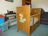 Vintage Drop-side Cot with Mattress and some Bedding