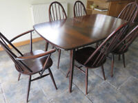 ercol grand windsor extending table and 6 quacker chairs