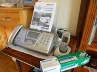 Panasonic fax machine with extra cordless handset and spare Ink Film Roll