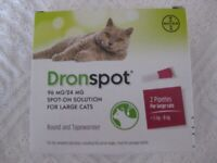 DRONSPOT SPOT-ON SOLUTION WORMER FOR LARGE CATS. 6 months supply.