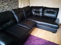 DFS Black leather Corner sofa / Can deliver if needed
