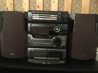 JVC home sound system. Twin cassette, 3 cd and radio.