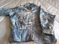 Ladies Leather Jacket Denim Patch Design size 12/14 As New