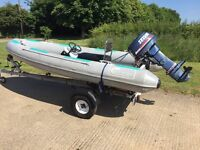 OCEAN 4m RIB Inflatable Boat & Outboard - Galvanised Trailer