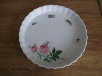 "Vintage 'Christineholm' ""Pink Roses"" Flan Dish"
