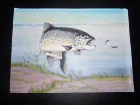 """Original oil painting - brown trout (14"""" x 10"""") - £10 ONO"""