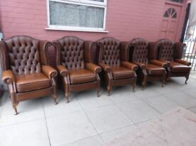 Five Tanny /Brown Leather Queen Ann Chesterfield Wing Chairs
