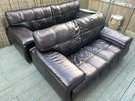 Black Leather sofa 3&2 seaters with chrome feet