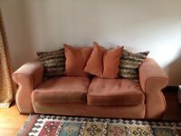 Free to collector. Sofas. 3 seater and 2 seater. Light terracotta fabric.
