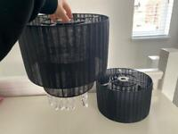 2 x black two tiered lampshades