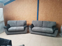 Grey&Black 3+2 Seater Sofas (Fast&Free Delivery)