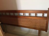 Vintage bamboo cane Rattan double bed headboard