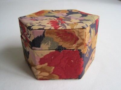 Vintage Cloth Covered Hexagonal Box