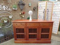 STUNNING EXTRA LARGE SHESHAM JALI WOOD SIDEBOARD EXTREMELY HEAVY UNIT IN EXCELLENT CONDITION