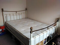 Double bed with mattress, metal white & gold frame must go this week, open to offers