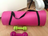 Weights and exercise mat