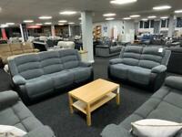 Recliner 3+2 Sofa set fabric grey